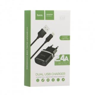 СЗУ Hoco C12 с Lightning USB (2USB, 2.4А) black