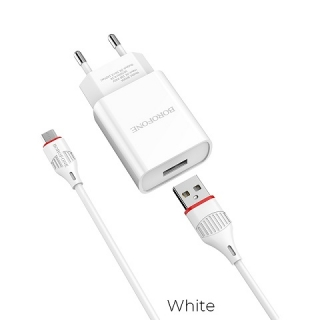 СЗУ 1USB Borofone BA20A Sharp 2.1A Micro 2in1 white