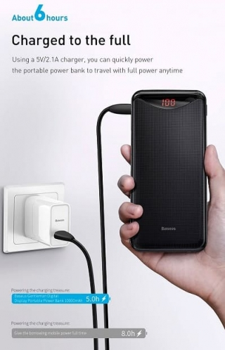 Baseus Gentleman Digital Display Powerbank 10000mAh / Black