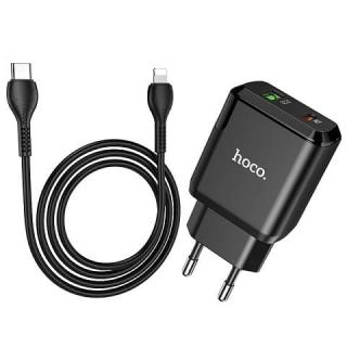 CЗУ HOCO N5 Favor dual port PD20W+QC3.0 charger set (Type-C на Lightning)