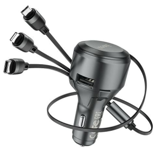 АЗУ HOCO S27 Tributo single-port car charger with 3-in-1 cable