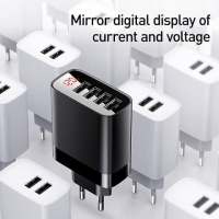 СЗУ Baseus Mirror Lake Digital Display 4USB Travel Charger 30W (EU)