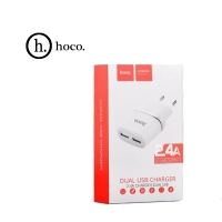 СЗУ Hoco C12 с Lightning USB (2USB, 2.4А) white
