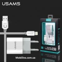 USAMS J-TU series set Lightning (EU) (2USB, 2.4A)