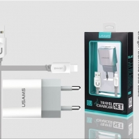 USAMS J-TU series set Lightning (EU) (2USB, 2.4A)