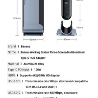 Baseus Working Station Three-Screen Multifunctional Type-C HUB Adapter