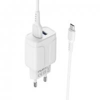 СЗУ 2USB Borofone BA37A Speedy 2.4A с кабелем 2in1 white
